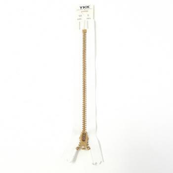 YKK BRASS ZIP 15cm/6in WHITE