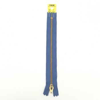 YKK BRASS ZIP 18cm/7in BLUE