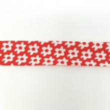 RED WITH WHITE DAISY BIAS