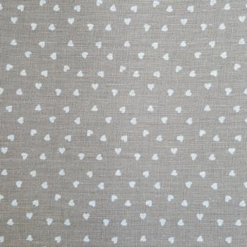 STOF LINEN BEIGE HEARTS ON TAUPE