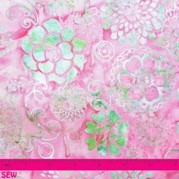 BALI HANDPAINTS PINK & GREEN FLORAL