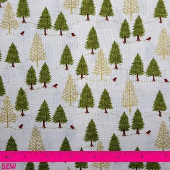TREES AND ROBINS ON CREAM