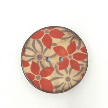 PRINTED RED FLOWER BUTTON