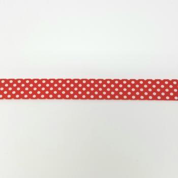 BIAS BINDING POLKADOT RED 18mm