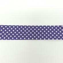 BIAS BINDING DOTS ON PURP 25mm
