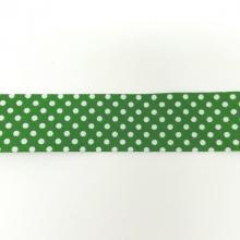 BIAS BINDING DOTS ON GREEN 25mm