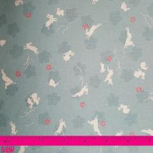 JAPANESE RABBITS ON TEAL PRINT