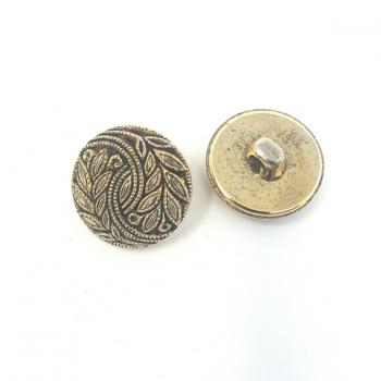 BRASS EFFECT LEAF PATTERNED BUTTON MEDIUM