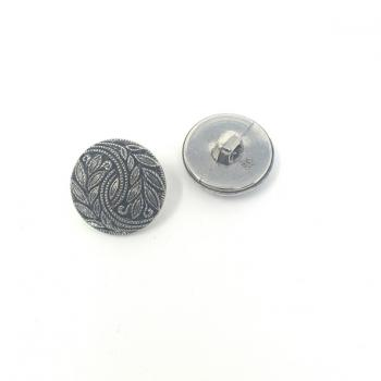 SILVER LEAF PATTERNED BUTTON MEDIUM