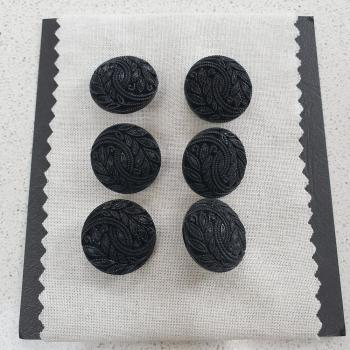 BLACK LEAF PATTERN BUTTON CARD OF 6