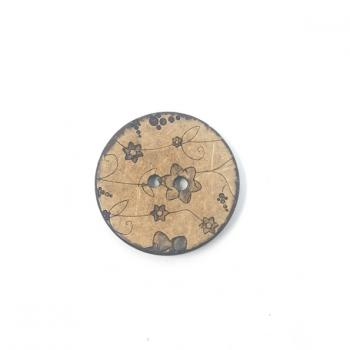 BROWN FLORAL PRINT BUTTON