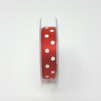 POLKA DOT RIBBON 15mm RED