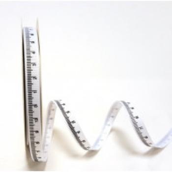 METRIC TAPE WHITE GROSGRAIN RIBBON 9mm