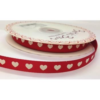 IVORY HEARTS ON RED GROSGRAIN RIBBON 9mm