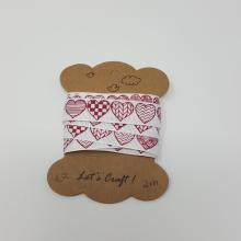 RED PATTERNED HEART PRINT GROSGRAIN