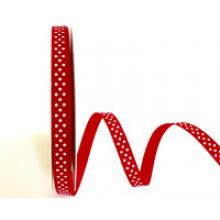 WHITE DOT ON RED GROSGRAIN RIBBON 9mm