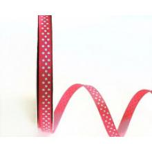 PINK GROSGRAIN WITH BLUE DOTS 9mm