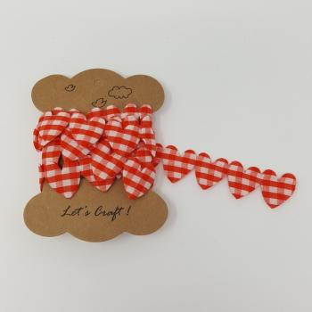 LARGE GINGHAM HEARTS RED