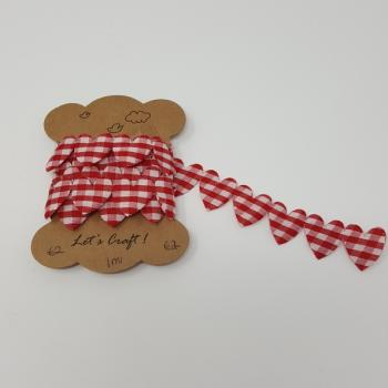 LARGE GINGHAM HEARTS DARK RED