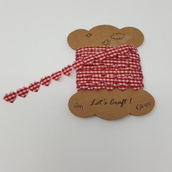 RED 10mm GINGHAM HEARTS