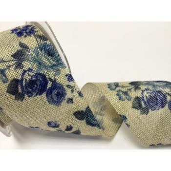 60mm BURLAP BLUE FLOWER