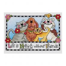 LIFE IS NOTHING WITHOUT FRIENDS CROSS STITCH KIT