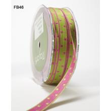 LIME GREEN & PINK SQUARES REVERSIBLE WOVEN RIBBON 3/8in