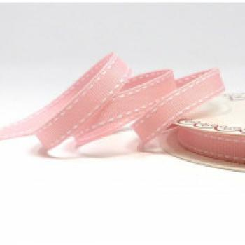 BABY PINK GROSGRAIN WITH WHITE SADDLE STITCH 13mm