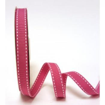 DUSKY PINK GROSGRAIN WITH WHITE SADDLE STITCH 13mm