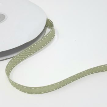SOFT SAGE GROSGRAIN WITH WHITE SADDLE STITCH 13mm