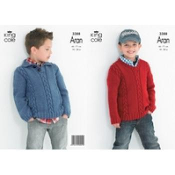 KING COLE BOY'S ARAN KNIT PATTERN 3388