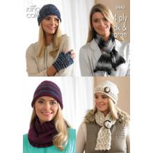 KING COLE LADY'S HATS,SCARVES, COWL AND FINGERLESS GLOVES KNIT PATTERN 3443