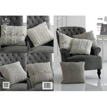 KING COLE ARAN CUSHIONS KNIT PATTERN 4146