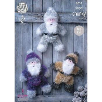 KING COLE TINSEL CHUNKY SANTAS PATTERN 9031