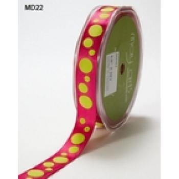5/8in SATIN RIBBON PINK WITH LIME GREEN DOTS
