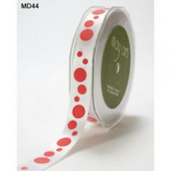 5/8in WHITE WITH RED DOTS