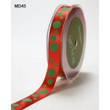 5/8in SATIN RIBBON RED WITH GREEN DOTS