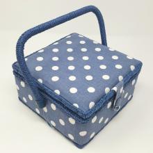 SEWING BOX DENIM DOT