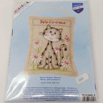 KITTEN WELCOME CROSS STITCH