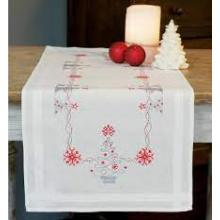 CHRISTMAS TREES CROSS STITCH TABLE RUNNER KIT