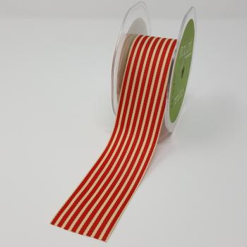 RED AND CREAM STRIPE GROSGRAIN RIBBON 1.5 inch