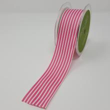 WHITE AND PINK STRIPE GROSGRAIN RIBBON 1.5in