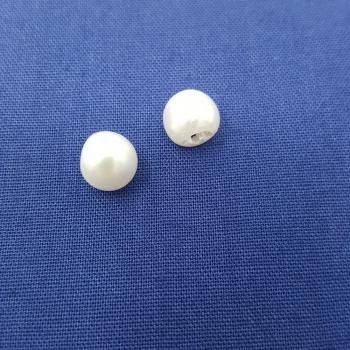 ROUNDED PEARL BALL BUTTON WHITE