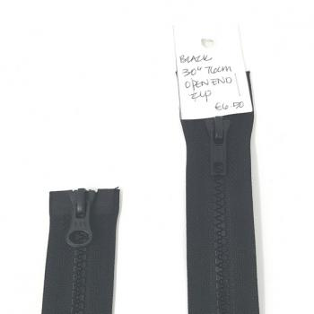 TWO WAY PLASTIC OPEN-END ZIP BLACK