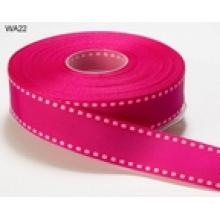 DARK PINK WITH LIGHT PINK STITCHED EDGE GROSGRAIN RIBBON 1 inch