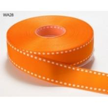 ORANGE WITH CREAM STITCHED EDGE GROSGRAIN RIBBON 1 inch