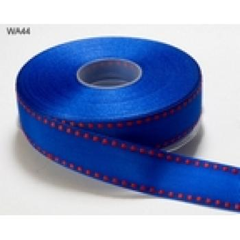 DARK BLUE WITH RED STITCHED EDGE GROSGRAIN RIBBON 1 inch