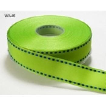 GREEN WITH NAVY STITCHED EDGE GROSGRAIN RIBBON 1 inch