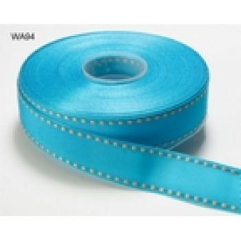 TURQUOISE WITH CREAM STITCHED EDGE GROSGRAIN RIBBON 1 inch