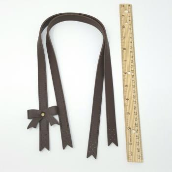 BAG HANDLES SYN LEATHER BROWN